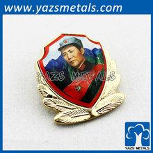 Gold plated epoxy sticker chairman mao lapel pin chairman mao badge