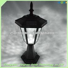 luxury post solar led light,chapiter lamp ,water jet lamp for outdoor ,garden,street