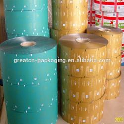 Laminated plastic packaging film roll materials