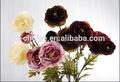 nueva llegada 3 hermosa cabeza de la flor artificial con florero de vidrio