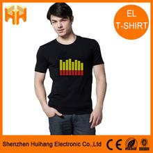 2014 hot selling sound activated ladies/men el t-shirt