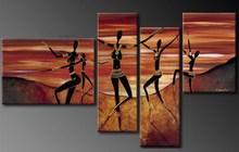 nude ladies body painting art 4 panels handmade from xiamen factory