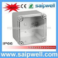 2014 saipwell High quality 125*125*100MM custom plastic enclosure with Transparent Cover