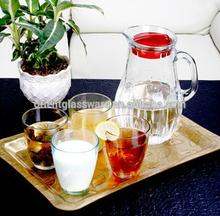 simple design tea,water,juice ,coffee ,milk glass jug and cup