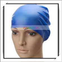 Fashionable Waterproof Silicone Swim Cap Deep Blue