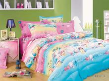 cute pig print children bedding set, low price cotton bedsheet, funny colorful duvet cover