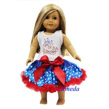 "18"" American Girl Doll 4th July Patriotic Princess Star Pettiskirt Party Dress"