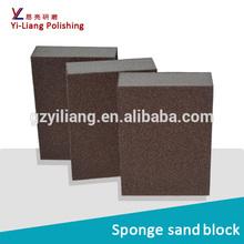 Abrasive polish sponge block for wood polishing