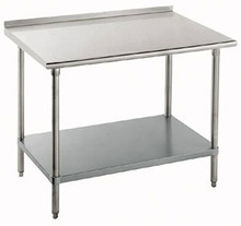 """14 Gauge Advance 36"""" x 72"""" Stainless Steel Commercial Work Table with Undershelf and 1 1/2"""" Backsplash"""