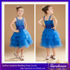 New Fashion Knee Length A-line Square Neck Beaded Tiered Royal Blue Cocktail Dress for Children (ZX160)