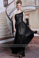 DORISQUEEN Dropshipping new arrivals 2014 floor length hollow out one shoulder new long black one shoulder long bridesmaid dress