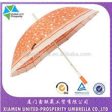 Super bouncy and elastic fiberglass 24 ribs golden aluminium shaft umbrella