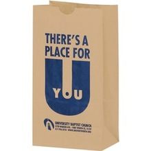 Grocery Bags Thin brown krafr paper bag without handle Merchandise Bags with die cut opener
