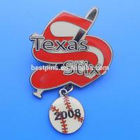 baseball trading pin,soft enamel baseball pin with baseball dangler, mini baseball charms lapel pin