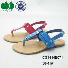 red sexy pu sole lady flat slipper sandals