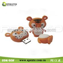 Little Tiger Sweet Silicone U Disk Hi-speed USB 2.0 Flash Drive 1GB -32GB Orange/Red/Blue