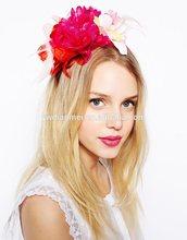 2014 vintage tiara red fabric flower hair band wholesale
