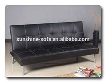 Black Leather Three Seater Sofa Cum Bed