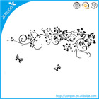 ZY954 removable pvc black flowers vine wall stickers home accessory modern paintings flowers
