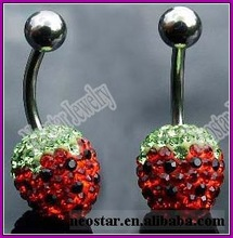 stainless steel belly ring bars with gemstone piercing jewelry