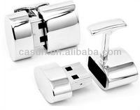 Custom logo Cufflinks usb silver golden gun metal with Velvet gift box packing