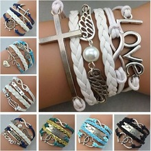 Fashion Lovely Angel Wings Silver Infinity Love Cross Charm Leather Cuff Bracelet Wrap White Bead Bangle Jewelry for Women1263