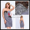Off shoulder sexy backless feather grey chiffon cocktail dress KT1076