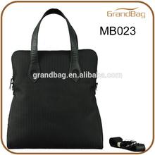 New fashion men's nylon laptop bag with leather trim handbag
