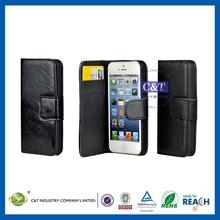 Brushed aluminum luxury pu leather case for iphone 5c