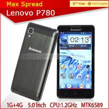 5.0'' 3g 8mp camera dual sim 1gb ram 4gb rom lenovo p780 mobile phone waterproof
