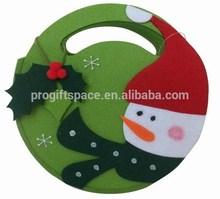 2015 new China supplier hot wholesale beautiful fabric handmade decoration felt snowman round Christmas treat gift reusable bag