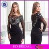 EDC015 Bling Beaded Long Sleeve Bateau Neck Elegant Short Sheath Cocktail Dress