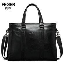 FEGER Men's Genuine Leather Portfolio Bag