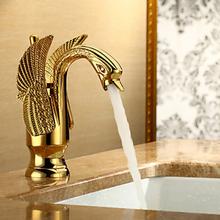 Gold finishing swan design basin faucet sink mixer