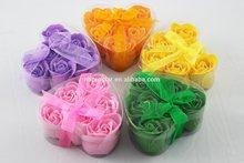 Rosallini 6 Pcs Rose Flower Scented Bath Soap Petals Orange w Heart Shape Box