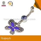 316L Butterfly Multi-Gem Belly Button Ring