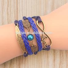 2014 New Infinity bracelet,birds and love Charm Wax Cords Leather Bracelet