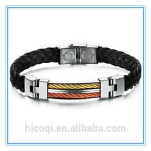 Wholesale stainless steel PU Leather bracelet&bangle for men Handmade vintage Korean Jewelry