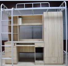 School dormitory beds Apartment Metal Bunk Bed student bed with computer desk