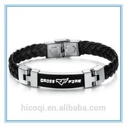 New Personality Cross Fire Bracelet & bangle innovative items PU Leather Buckle Wristband fashion men accessory