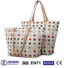 flax star printed fujian diaper bag,alibaba supplier fujian diaper bag,fujian diaper bag light polyester tote bag