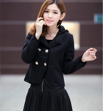 2014 New Fashionable Sweet Korean Stylish Double-Breasted Bowknot Design Back Hooded Coat Black SX13102319-1
