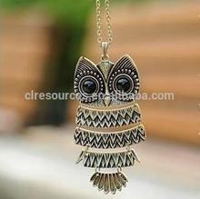 (bronze) to restore ancient ways owl pendant necklace