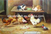rabbits eating vegetables 2014 new design animal oil painting