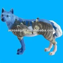 Lifelike painted resin wolf