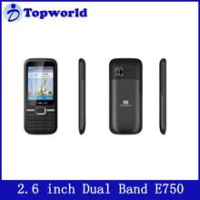 unlocked cell phones sale cheape e750 2.6 inch TFT screen GSM 900/1800MHz Dual sim card HD Digital Camera Bluetooth,FM,MP3,GPRS,