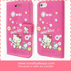 2014 hot selling wallet case for iphone 5, for hello kitty leather cellphone case for iphone