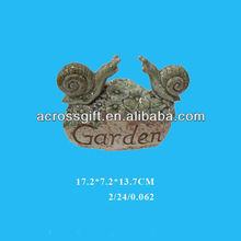 garden decorative on rock green glazed ceramic snail