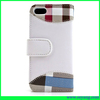 plain and plaid pu seam design folio wallet leather phone case for iphone 5 5s