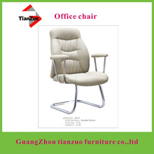 (office chair factory)chromed plate steel frame white PU office chairs for conference